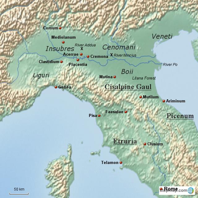Gaul World Map.Stepmap Cisalpine Gaul 225 193 Bc Landkarte Fur Italy
