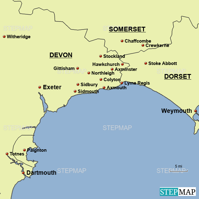 StepMap - Colyton, Devon, England - Landkarte für Great Britain on