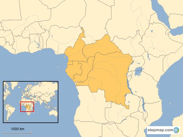 Congo Basin On Map Of Africa.Stepmap Congo Basin Landkarte Fur Africa