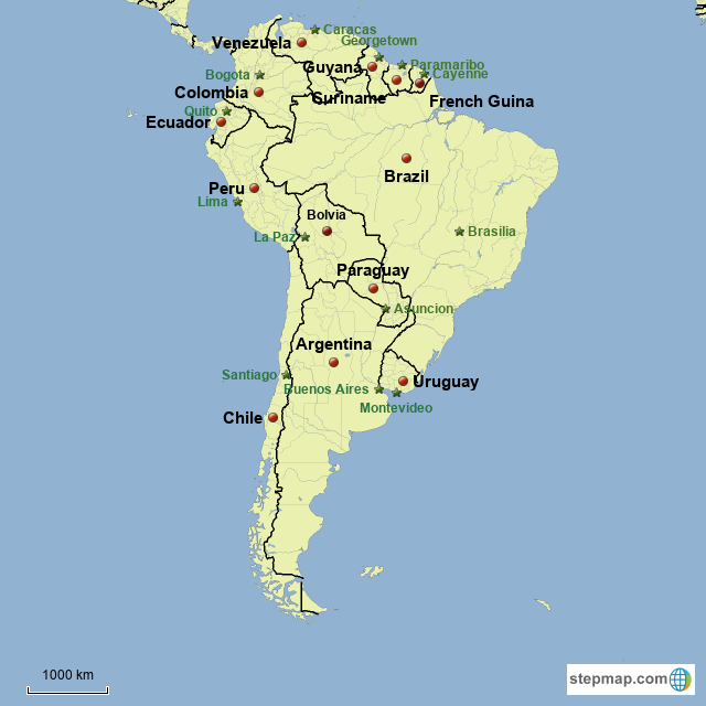 StepMap - Countries and their capitals in South America - Landkarte ...
