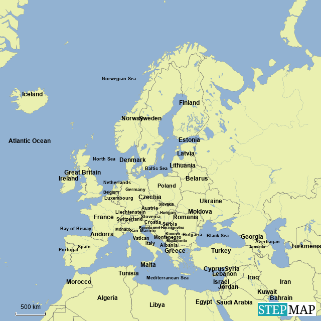 Stepmap Countries Of Europe And Major Bodies Of Water Landkarte
