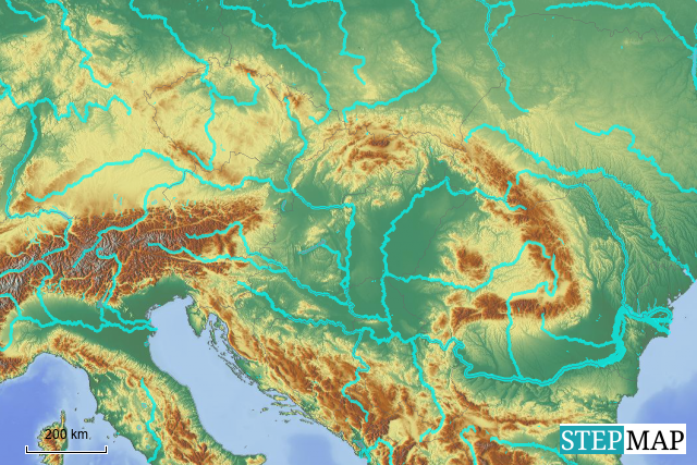 Stepmap Danube River Basin Chapters Landkarte Fur Europe