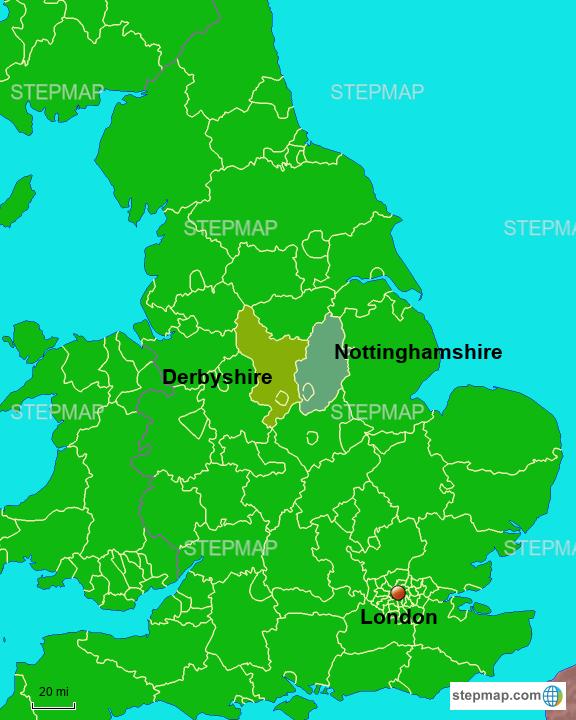 Map Of England Derbyshire.Stepmap Derbyshire Nottinghamshire Landkarte Fur Great Britain