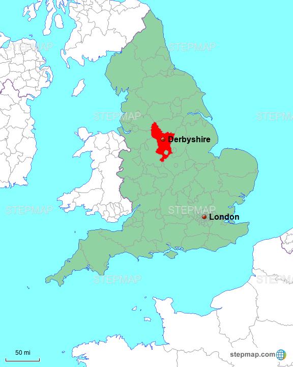 Map Of England Derbyshire.Stepmap Derbyshire In England Landkarte Fur Great Britain