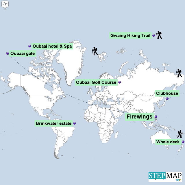 StepMap - Directions to Firewings - Landkarte für World on mauritius and map, playa del carmen and map, miami and map, belgium and map, san francisco and map, los angeles and map, washington and map, croatia and map, rio de janeiro and map, boston and map, lebanon and map, hungary and map, jordan and map, panama and map, mexico and map, malta and map, pakistan and map, prague and map, asia and map, machu picchu and map,