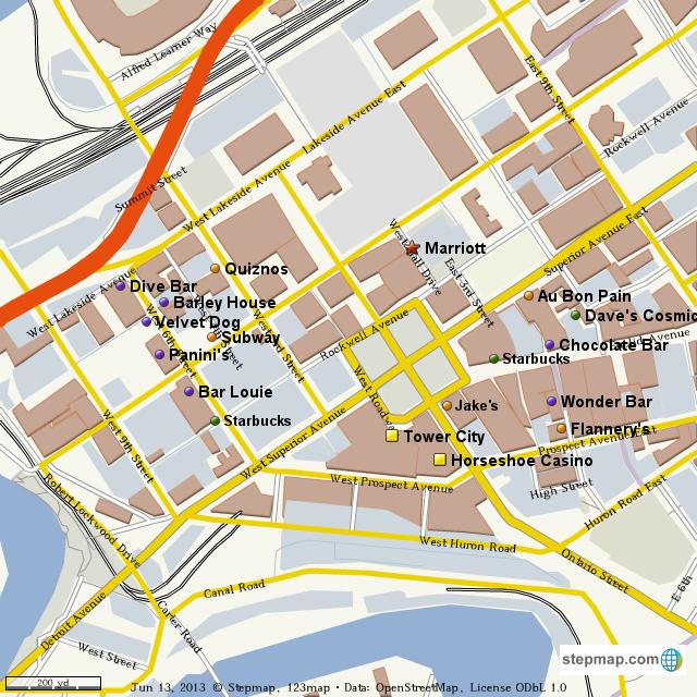 StepMap - Downtown Cleveland: Points of Interest - Landkarte ...