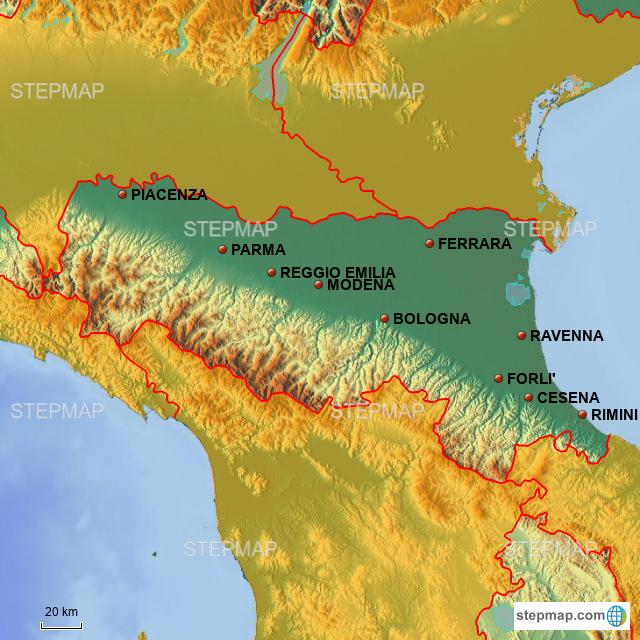 Cartina Politica Emilia Romagna.Stepmap Emilia Politica Landkarte Fur Italy