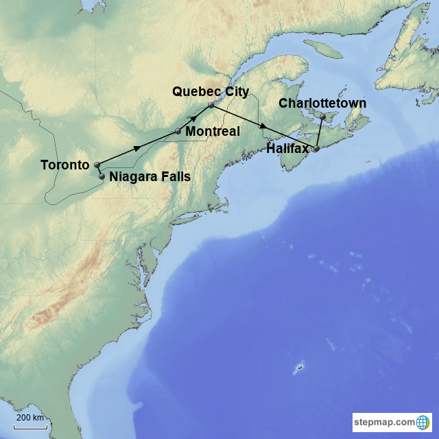 Map Of The East Coast Of Canada.Stepmap East Coast Canada And Beyond Website Version Landkarte