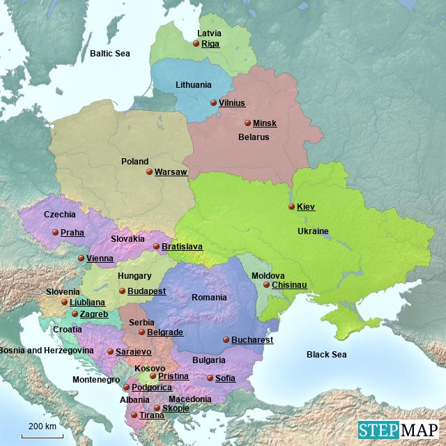 Map Of Eastern Europe 2014.Stepmap Eastern Europe Landkarte Fur Germany