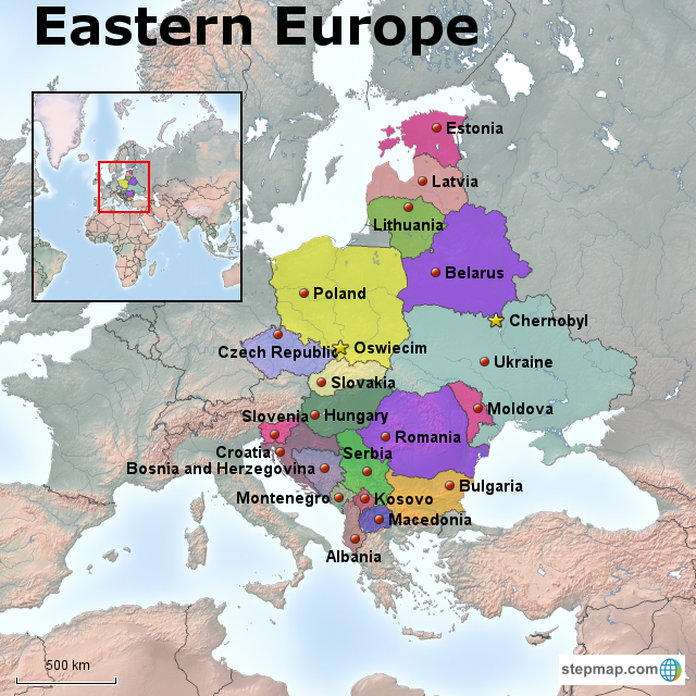 Stepmap Eastern Europe Physical And Political Map Landkarte Fur