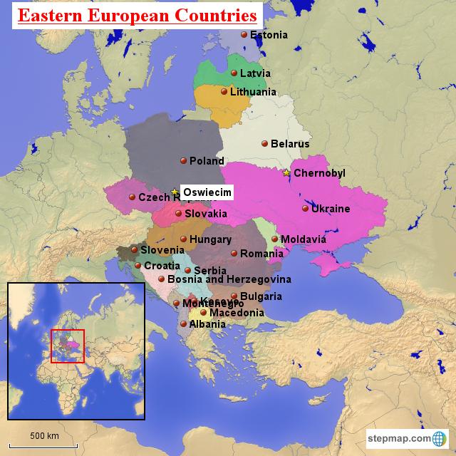 StepMap - Eastern European Physical/Political Map - Landkarte für Europe