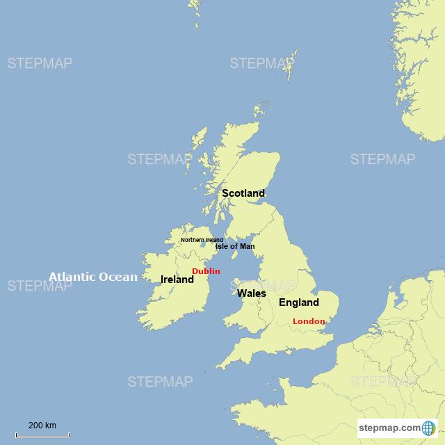 Map Of England 200.Stepmap England Ireland Landkarte Fur Europe