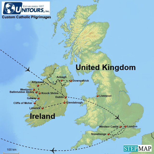 Map Of Ireland England.Stepmap Enriquez Ireland England Catholic Pilgrimage 10 Days