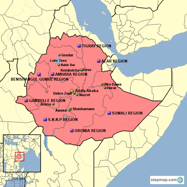StepMap - Ethiopia Map - Landkarte für Germany