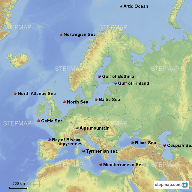 Map Of Europe With Bodies Of Water.Stepmap Europe Bodies Of Water Mountains Landkarte Fur Germany