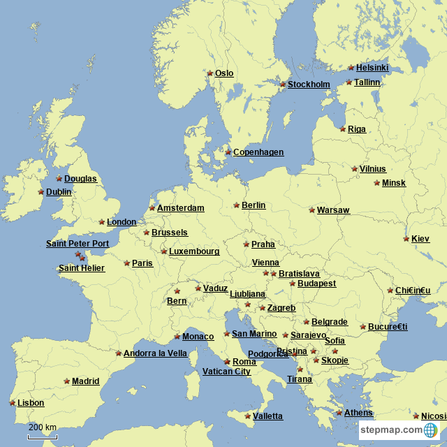 StepMap - Europe Capitals - Landkarte für Europe