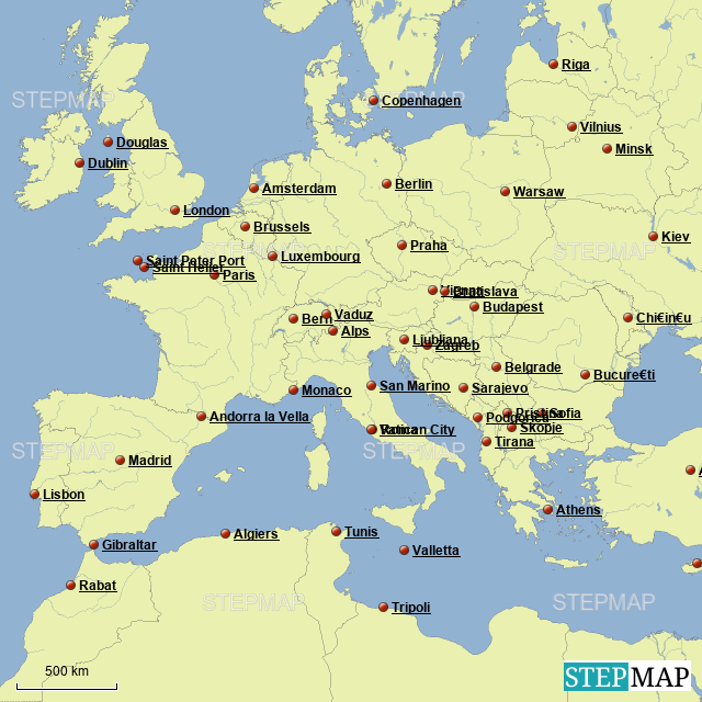 StepMap - Europe Capitals Map - Landkarte für Germany