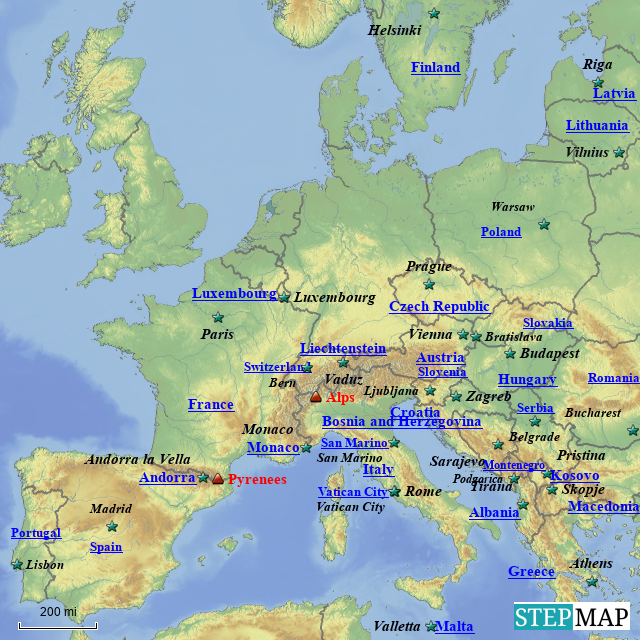 Stepmap Europe Countries And Capitals Pt 2 Landkarte Fur Europe