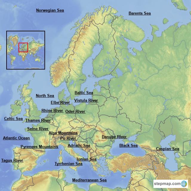 North Sea Europe Map.Stepmap Europe Landforms Landkarte Fur Europe
