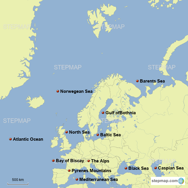 Map Of Europe With Bodies Of Water.Stepmap European Bodies Of Water And Land Masses Landkarte Fur