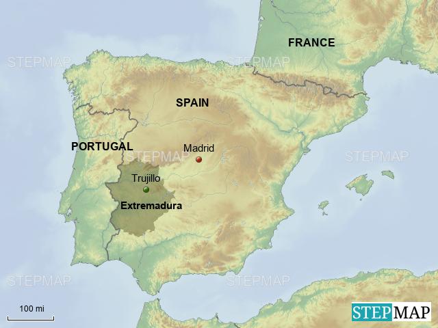 Map Of Spain Extremadura.Stepmap Extremadura Landkarte Fur Spain