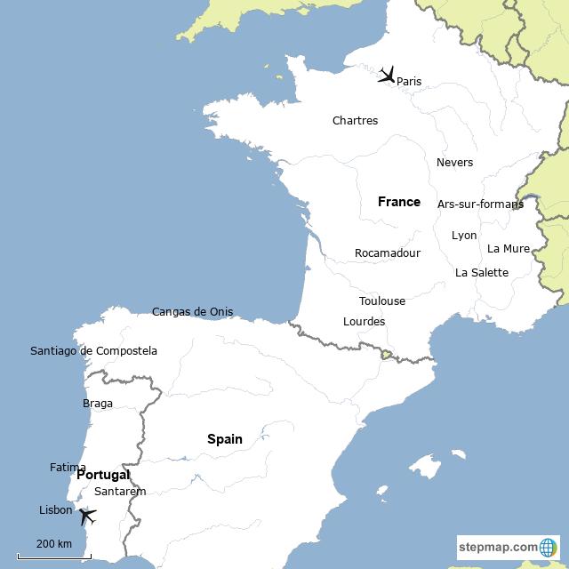 Map Of France To Spain.Stepmap France Spain And Portugal Landkarte Fur France