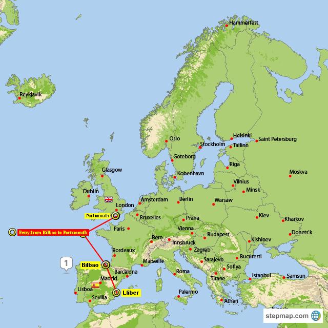 StepMap - Ferry From Spain to England - Landkarte für Europe