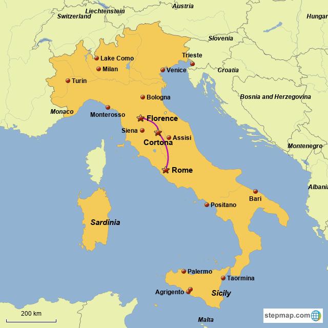 StepMap - Florence Cortona Rome - Landkarte für Italy