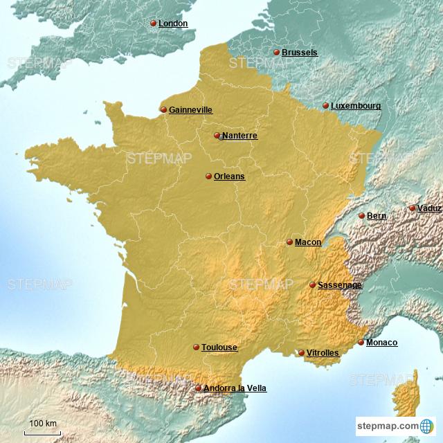 Stepmap France Landkarte Fur France