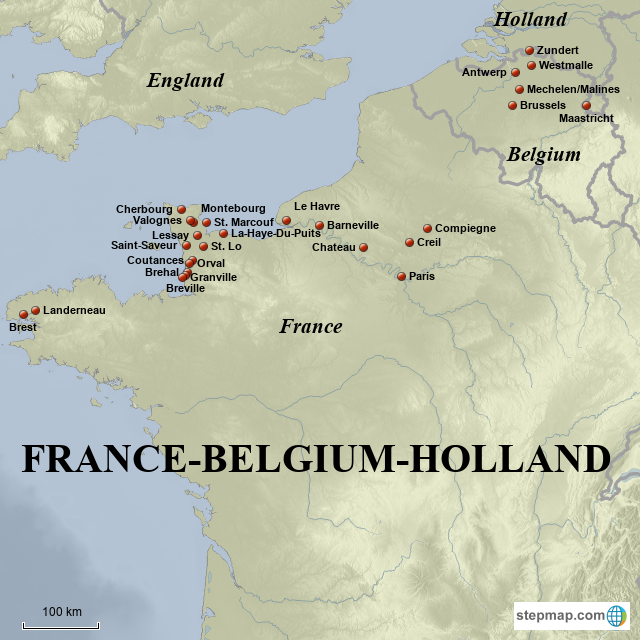 Map Of France And Holland Belgium.Stepmap France Belgium Holland Towns Landkarte Fur France