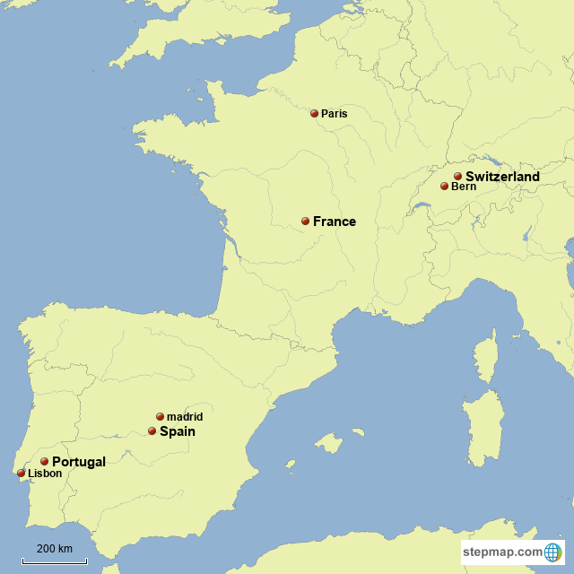 Map Of Portugal Spain France.Stepmap France Spain Portugal Switzerland Landkarte