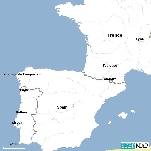 Map Of France Spain.Stepmap France Spain And Portugal Landkarte Fur France
