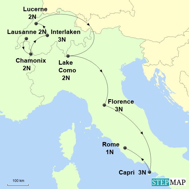 Map Of France Italy Switzerland.Stepmap France Switzerland And Italy Alps Landkarte Fur France