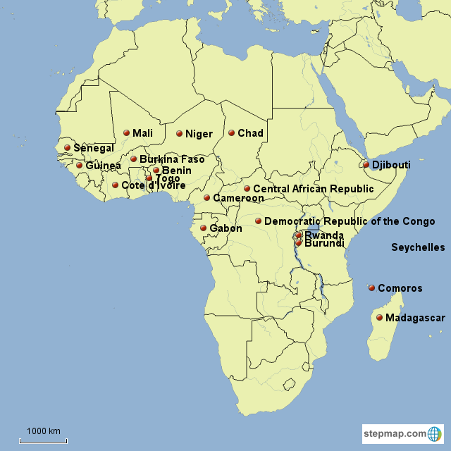 Map Of Francophone Africa.Stepmap Francophone Countries In Africa Landkarte Fur Africa