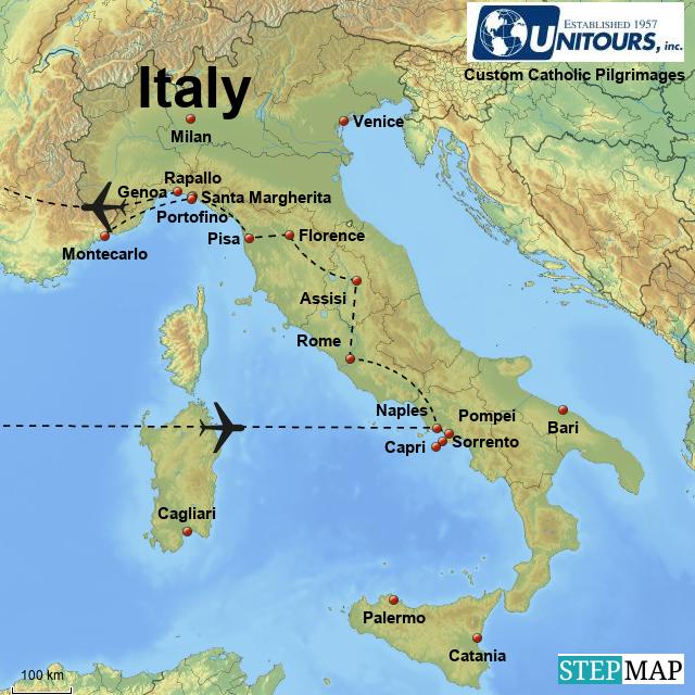 Stepmap From Capri To Rapallo 14 Days Landkarte Fur Italy