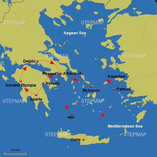 Stepmap Gvgr18 Odyssey Through Ancient Greece Landkarte Fur Greece