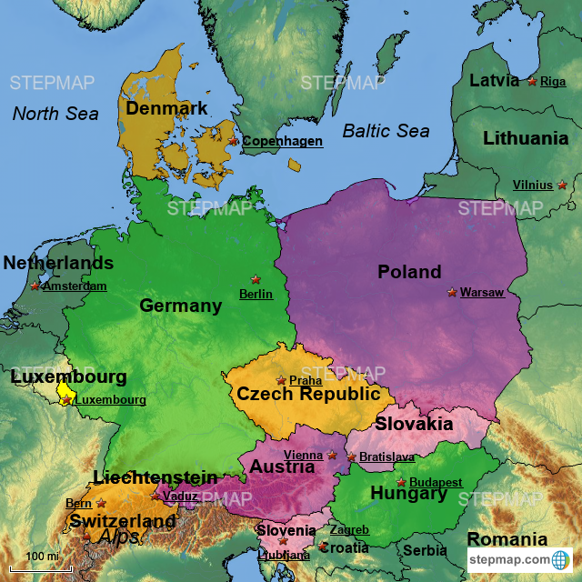 StepMap - Germany, Poland, Czech Republic, Luxembourg, Slovakia ...