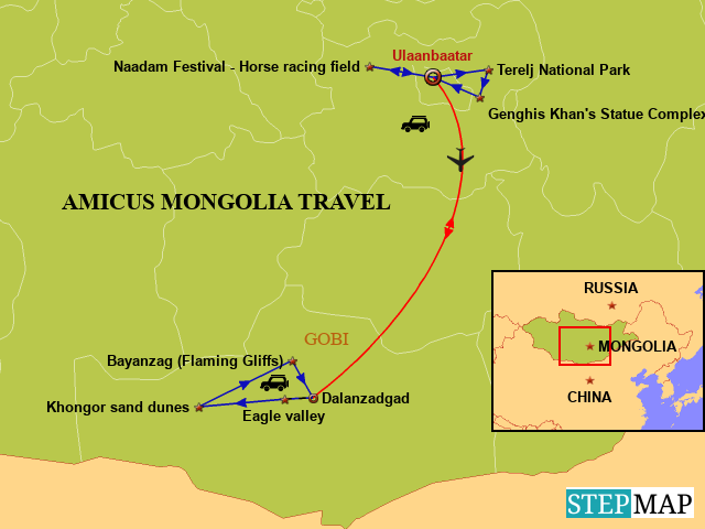 StepMap - Gobi desert Map - Landkarte für Mongolia