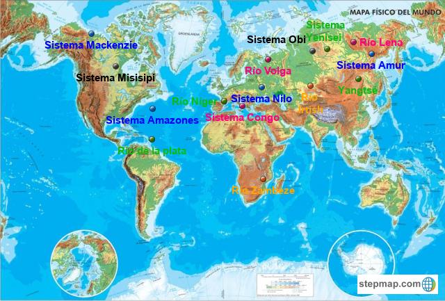Mapa Rios Del Mundo.Stepmap Grandes Rios Landkarte Fur World