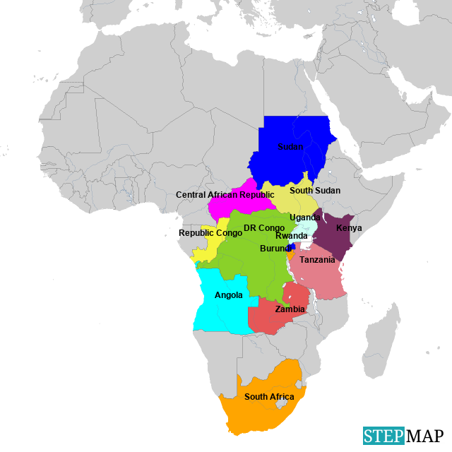 Lakes Of Africa Map.Stepmap Great Lakes Region Pscf Signatories Countries Landkarte