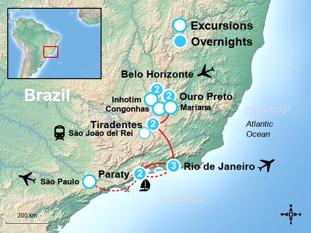 StepMap - Historic Cities in Brazil Tour - Landkarte für Brazil