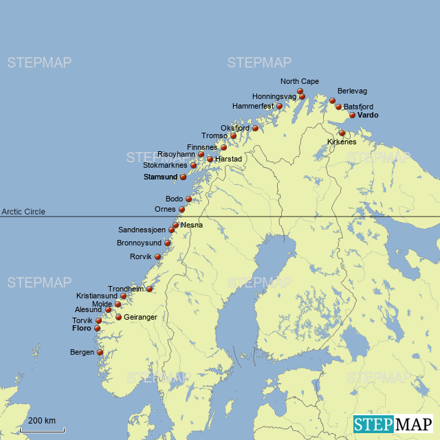 Stepmap Hurtigruten Landkarte Fur Norway