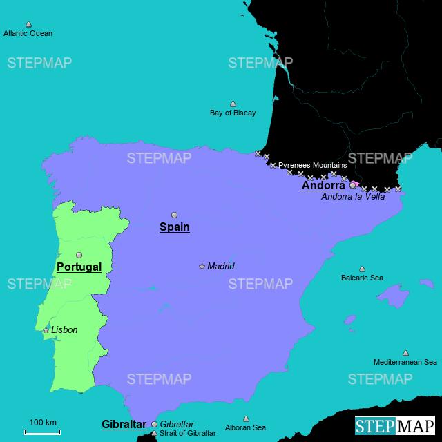 StepMap - Iberian Peninsula - Landkarte für Spain
