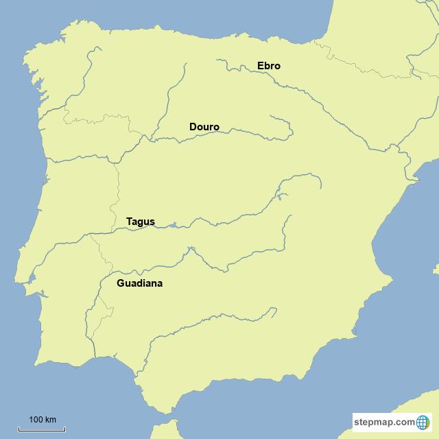 StepMap - Iberian Peninsula Rivers - Landkarte für Spain