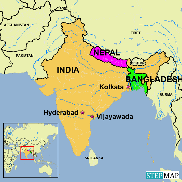 StepMap - India Bangladesh Nepal - Landkarte für India