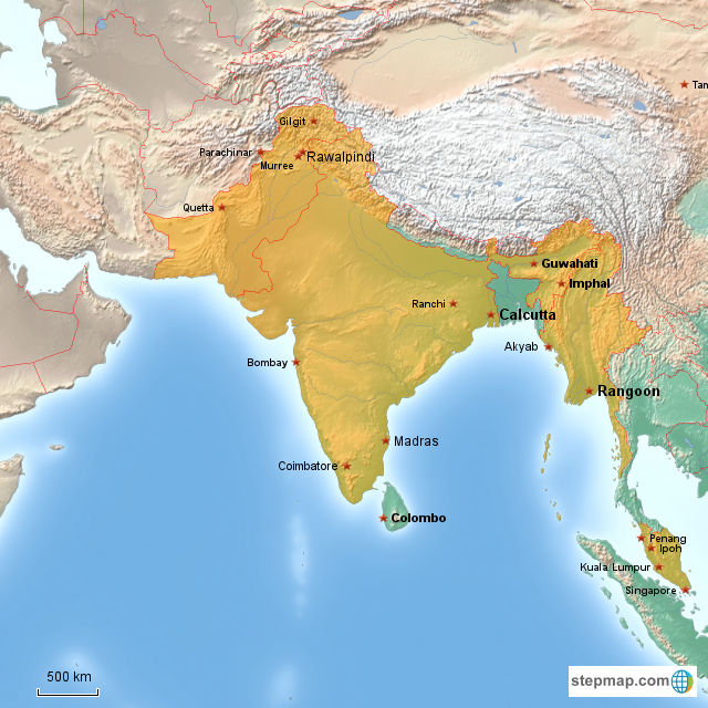 StepMap - India WW2 1946 letters - Landkarte für Asia