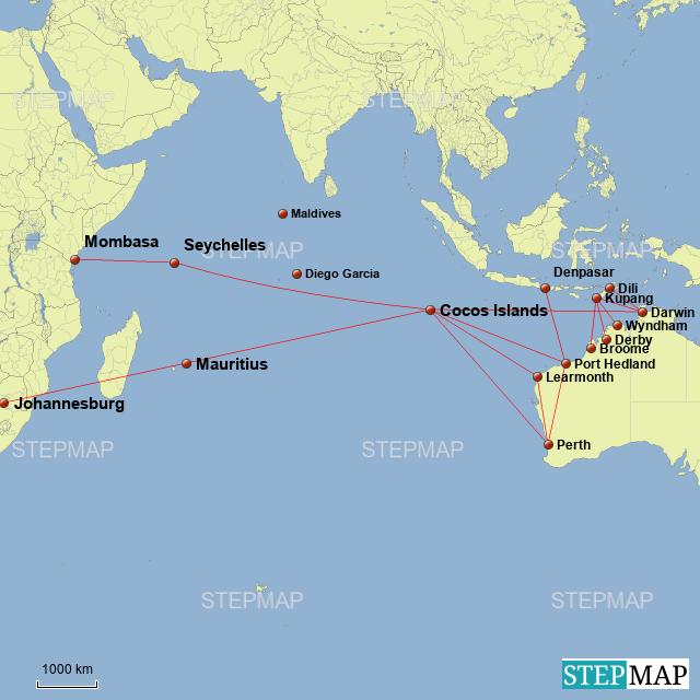Stepmap Indian Ocean Gateways Landkarte Fur World