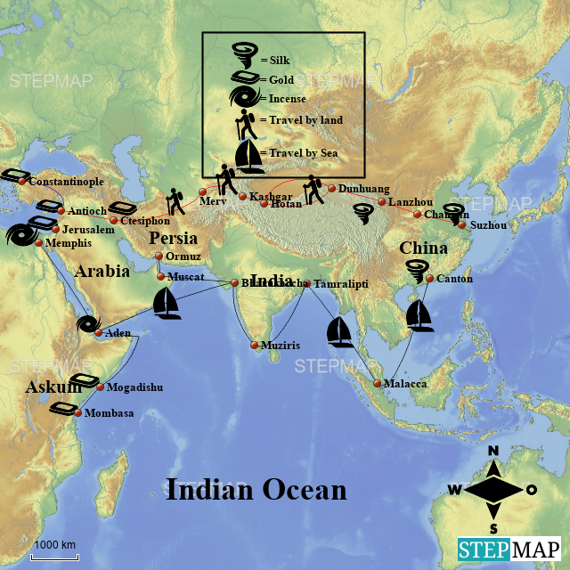 StepMap - Indian Trade Route on india china map, india trade route art, india road map, india terrain map, india travel map, india culture map, india british empire map, india africa map, india russia map,