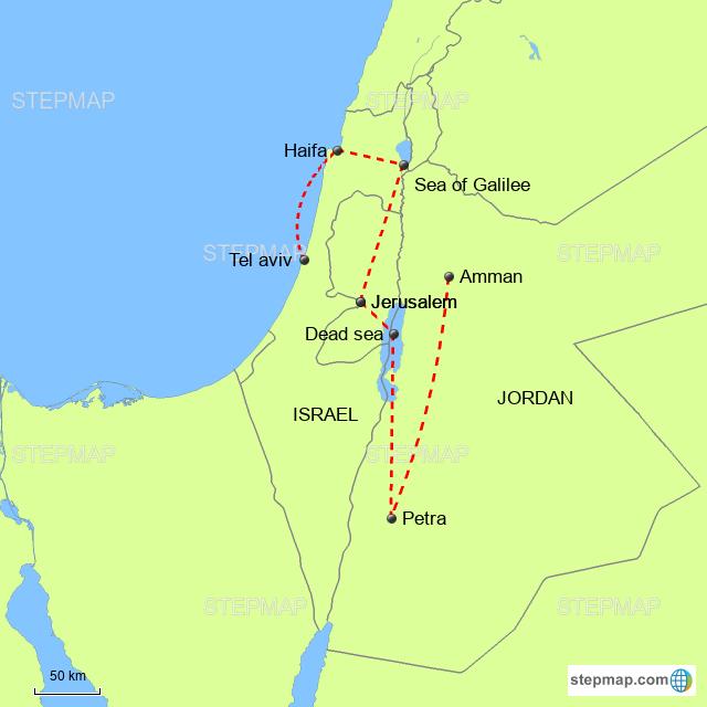 StepMap - Israel & Jordan - Landkarte für World