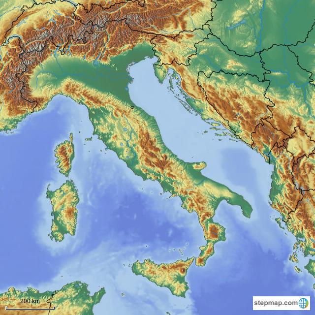 Cartina Fisica Muta.Stepmap Italia Fisica Muta Landkarte Fur Italy
